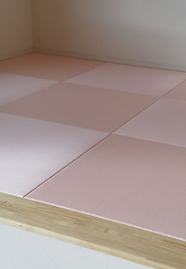 モダン和空間(新素材カラー畳)施行例 薄桜色
